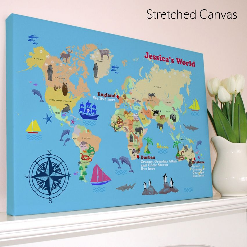 Personalised child s world map print gumiabroncs Gallery